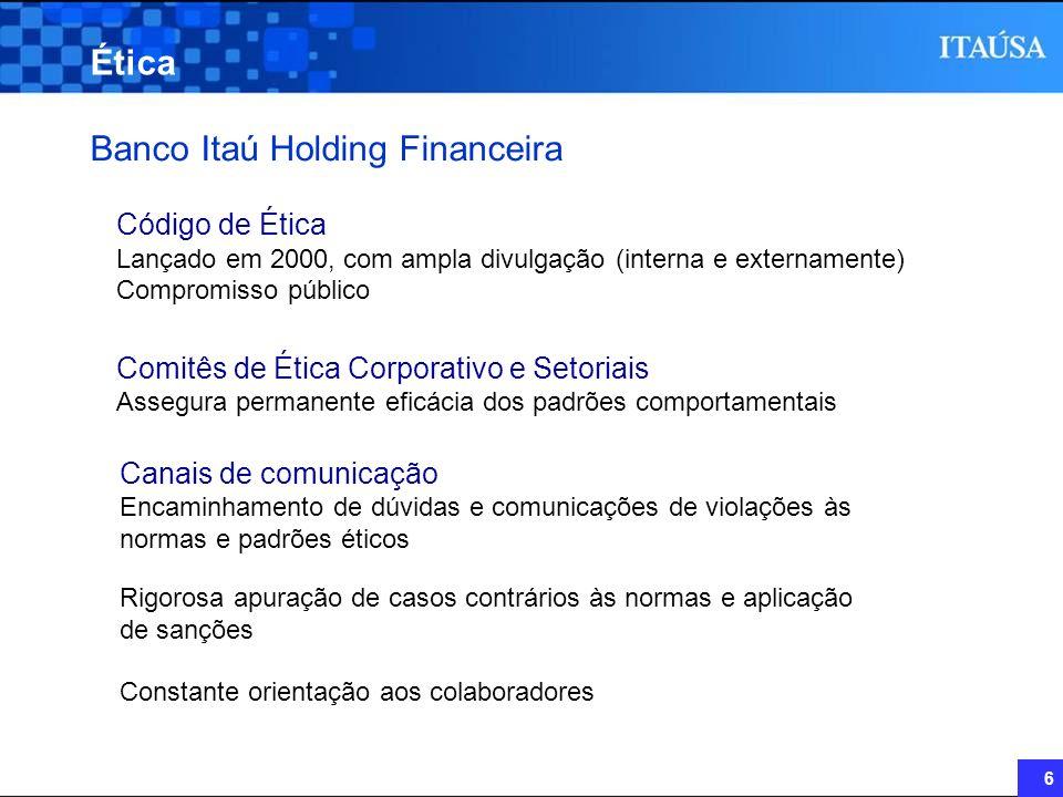 6 Ética Código de Ética Lançado em 2000, com ampla divulgação (interna e externamente) Compromisso público Comitês de Ética Corporativo e Setoriais As