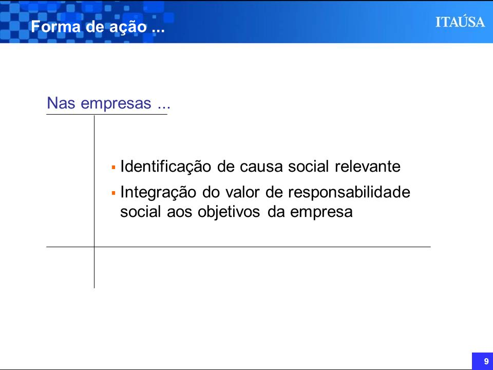 9 Forma de ação... Identificação de causa social relevante Integração do valor de responsabilidade social aos objetivos da empresa Nas empresas...