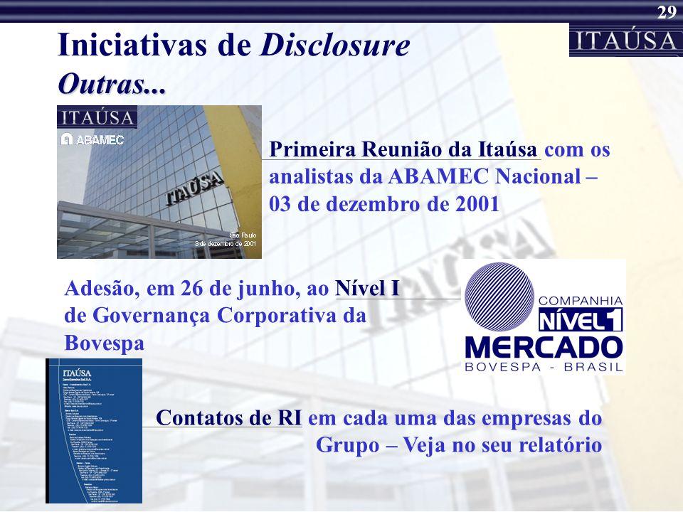 28 Iniciativas de Disclosure 1º Relatório de Rel. com Investidores Mensagem do Presidente Demonstrações Contábeis Completas do 3º trimestre de 2001 In