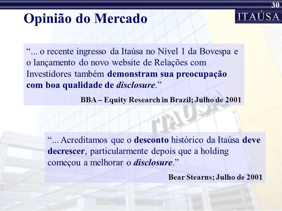 29 Iniciativas de DisclosureOutras... Primeira Reunião da Itaúsa com os analistas da ABAMEC Nacional – 03 de dezembro de 2001 Adesão, em 26 de junho,