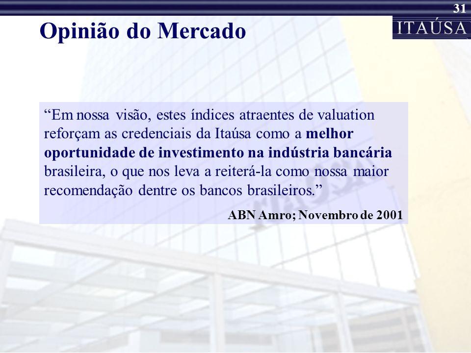30 Opinião do Mercado... o recente ingresso da Itaúsa no Nível 1 da Bovespa e o lançamento do novo website de Relações com Investidores também demonst