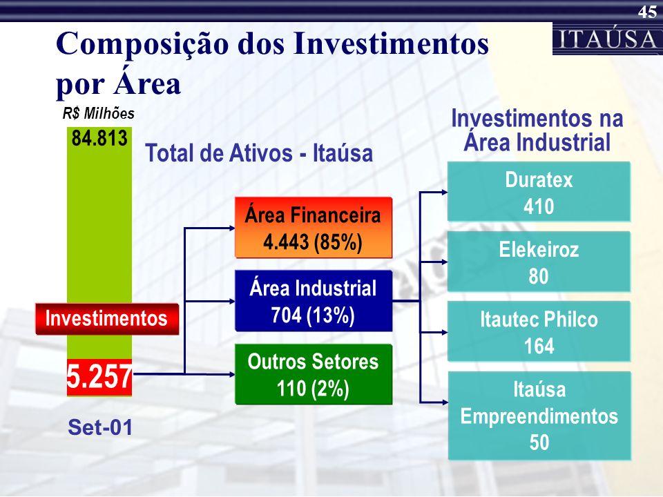 44 Set-01 84.813 Área Financeira 4.443 (85%) Área Industrial 704 (13%) Outros Setores 110 (2%) Composição dos Investimentos por Área Total de Ativos -