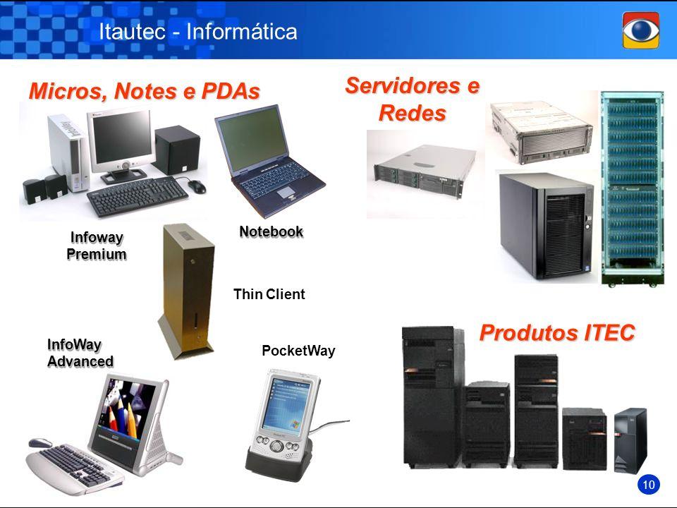 Itautec - Informática Micros, Notes e PDAs Micros, Notes e PDAs Servidores e Redes Servidores e Redes Infoway Premium NotebookNotebook InfoWay Advance