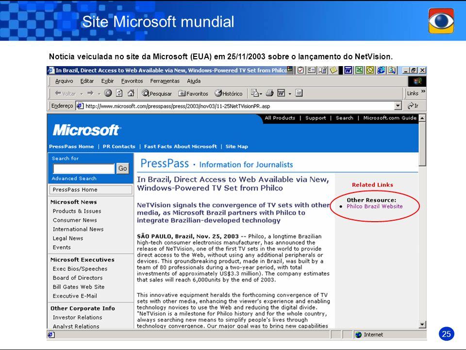 Site Microsoft mundial 25 Notícia veiculada no site da Microsoft (EUA) em 25/11/2003 sobre o lançamento do NetVision.