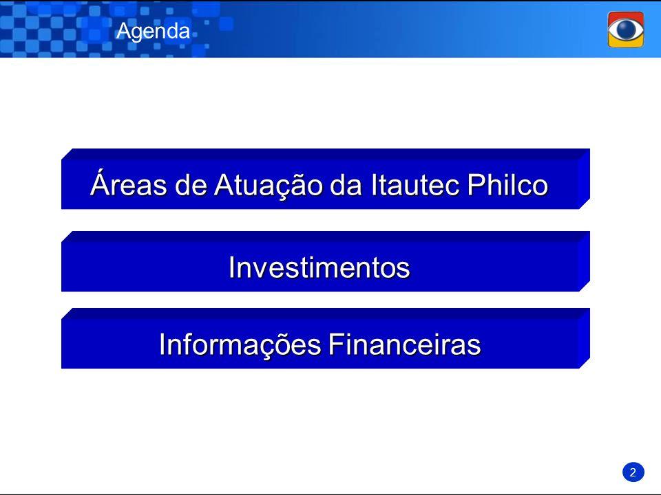 Agenda Informações Financeiras Investimentos Áreas de Atuação da Itautec Philco 2