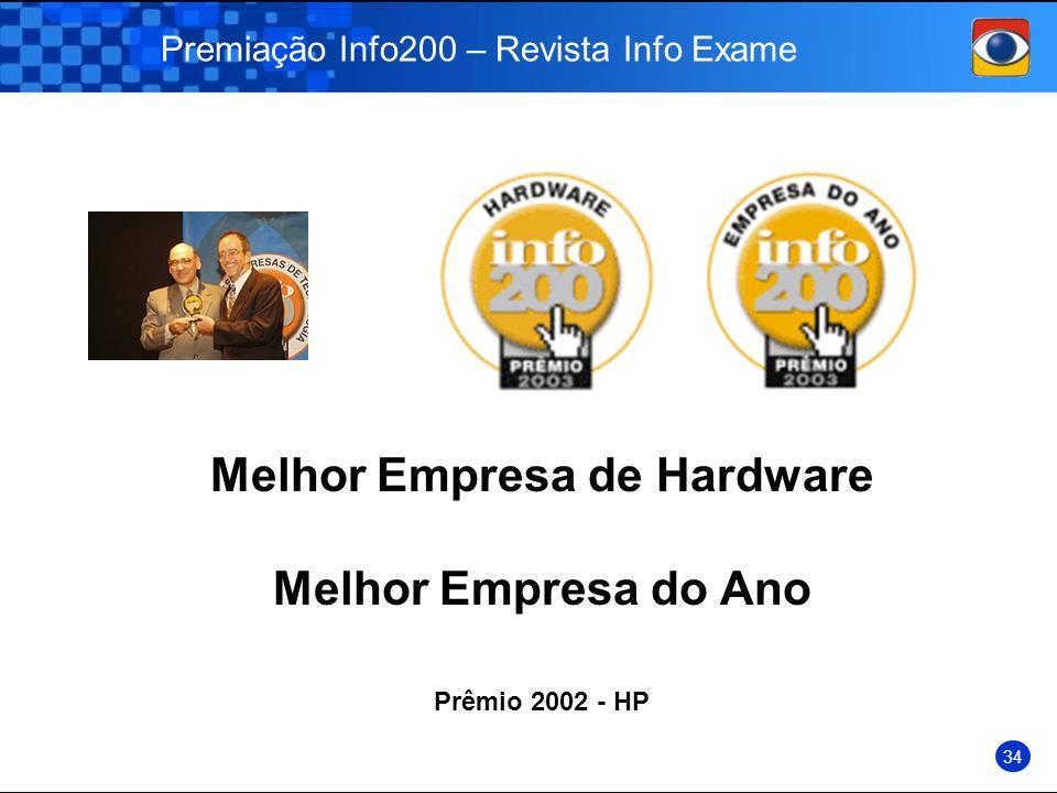 Premiação Info200 – Revista Info Exame Prêmio 2002 - HP 34 Melhor Empresa de Hardware Melhor Empresa do Ano