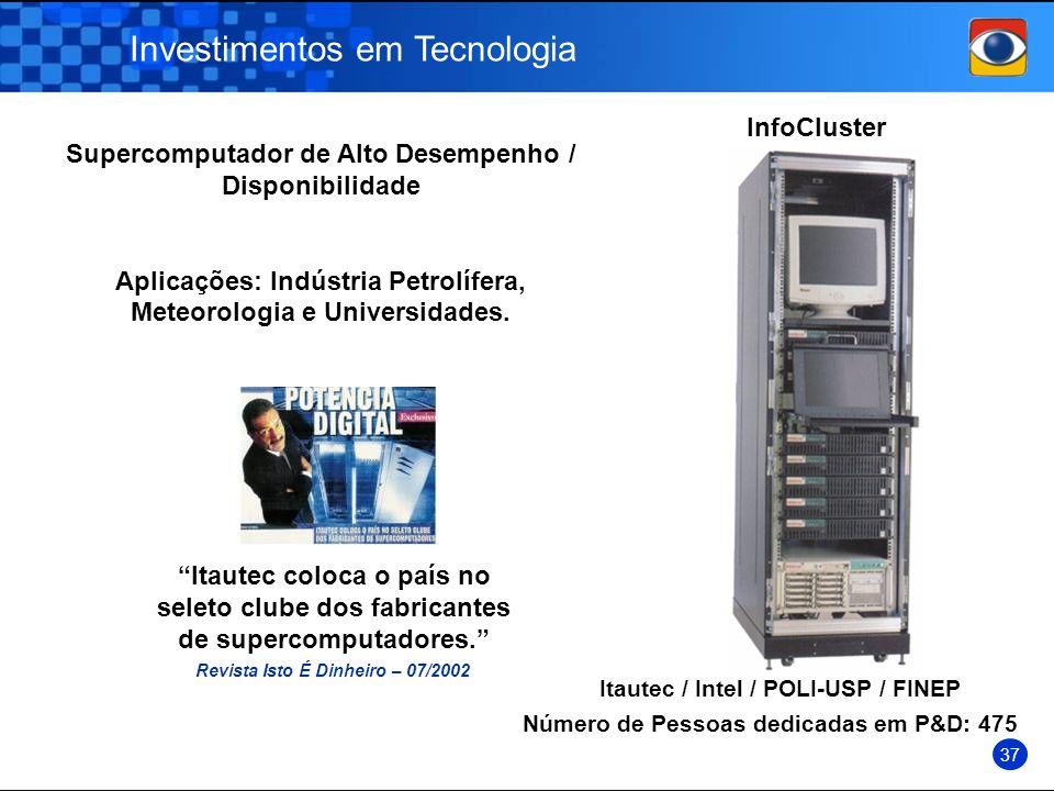 Supercomputador de Alto Desempenho / Disponibilidade Aplicações: Indústria Petrolífera, Meteorologia e Universidades. Investimentos em Tecnologia Info