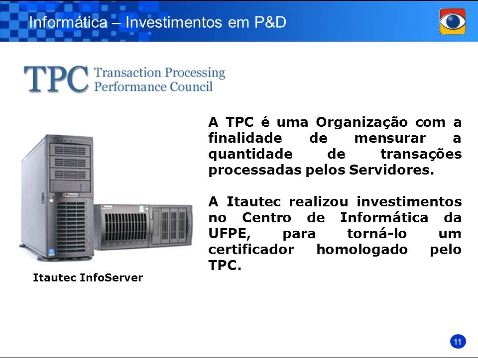 Informática – Investimentos em P&D 11 A TPC é uma Organização com a finalidade de mensurar a quantidade de transações processadas pelos Servidores. A