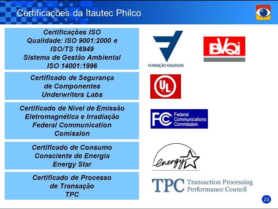 Certificações da Itautec Philco Certificações ISO Qualidade: ISO 9001:2000 e ISO/TS 16949 Sistema de Gestão Ambiental ISO 14001:1996 Certificado de Se