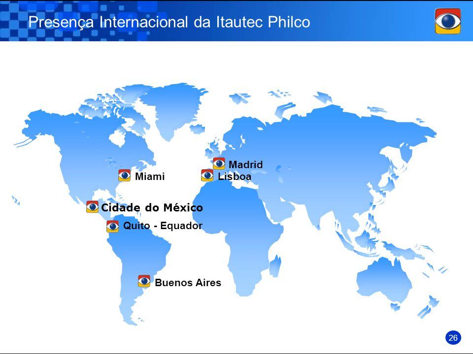 Presença Internacional da Itautec Philco 26 MiamiLisboa Madrid Buenos Aires Cidade do México Quito - Equador