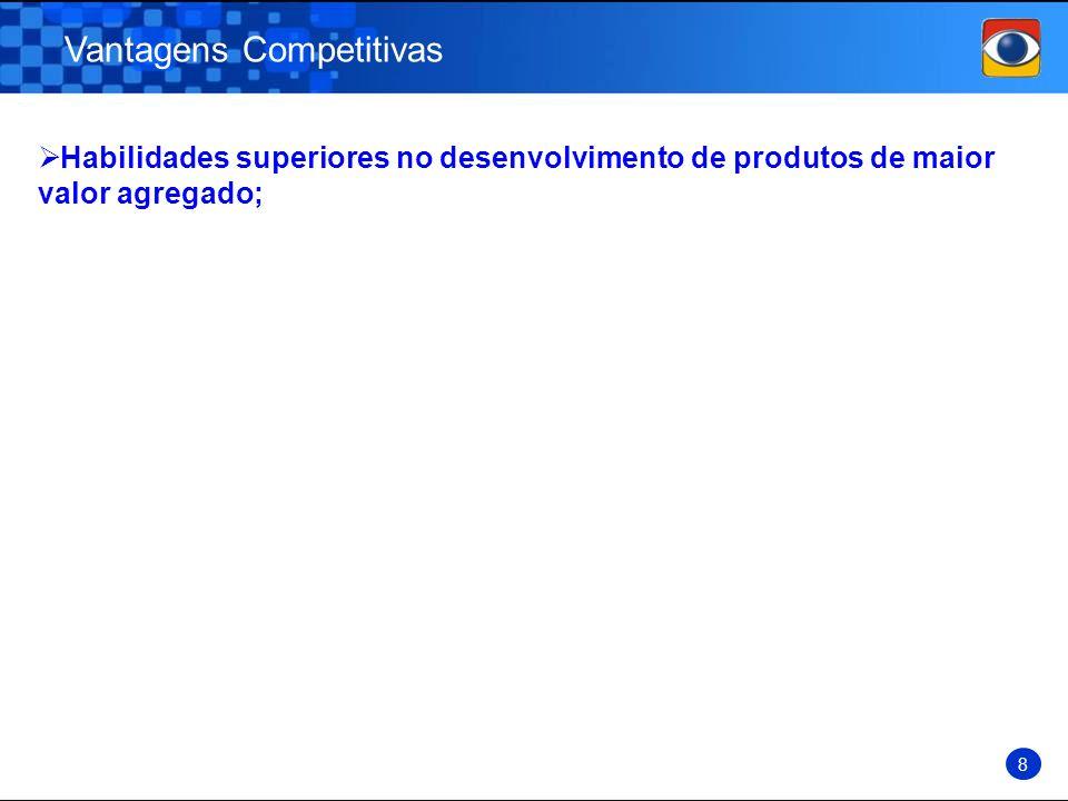 Vantagens Competitivas 8 Habilidades superiores no desenvolvimento de produtos de maior valor agregado;