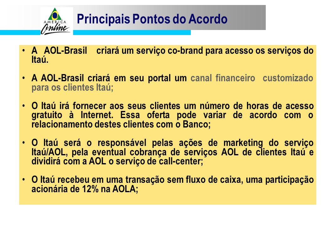 Principais Pontos do Acordo A AOL-Brasil criará um serviço co-brand para acesso os serviços do Itaú. A AOL-Brasil criará em seu portal um canal financ