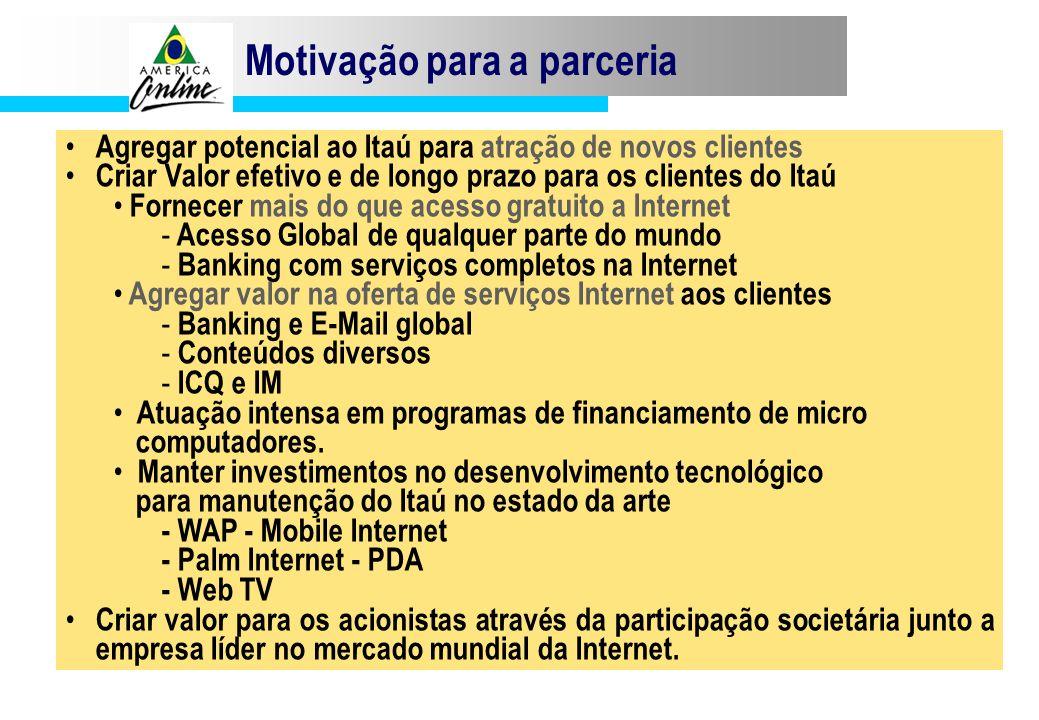 Motivação para a parceria Agregar potencial ao Itaú para atração de novos clientes Criar Valor efetivo e de longo prazo para os clientes do Itaú Forne