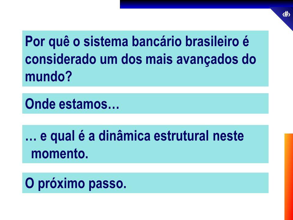 2 Por quê o sistema bancário brasileiro é considerado um dos mais avançados do mundo? Onde estamos… … e qual é a dinâmica estrutural neste momento. O