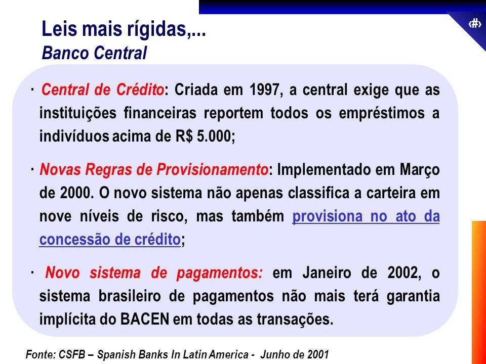 28 · Central de Crédito : Criada em 1997, a central exige que as instituições financeiras reportem todos os empréstimos a indivíduos acima de R$ 5.000