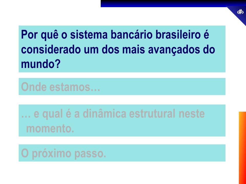 3 Onde estamos… … e qual é a dinâmica estrutural neste momento. O próximo passo. Por quê o sistema bancário brasileiro é considerado um dos mais avanç