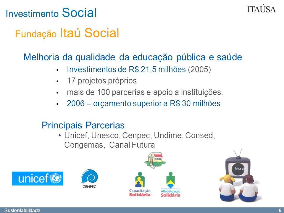 Sustentabilidade 5 Participação Social Voluntariado – Estimulo e capacitação; campanhas de doação Crianças e adolescentes - Programas educativos Envol