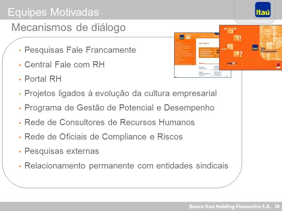 38 Mecanismos de diálogo Pesquisas Fale Francamente Central Fale com RH Portal RH Projetos ligados à evolução da cultura empresarial Programa de Gestã