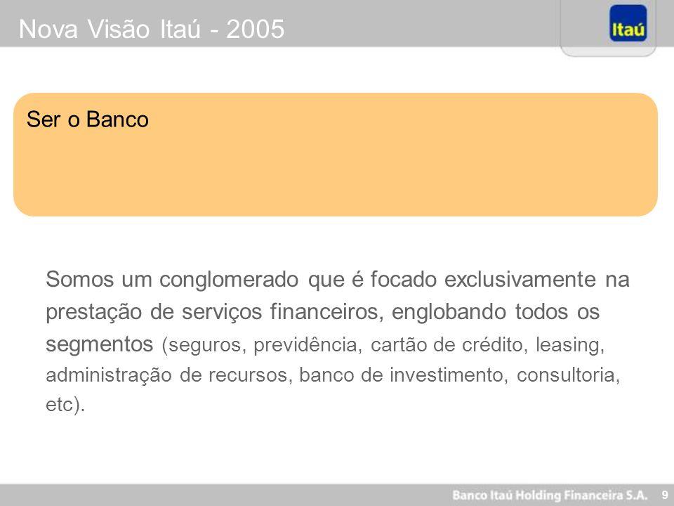9 Nova Visão Itaú - 2005 Ser o Banco Somos um conglomerado que é focado exclusivamente na prestação de serviços financeiros, englobando todos os segme