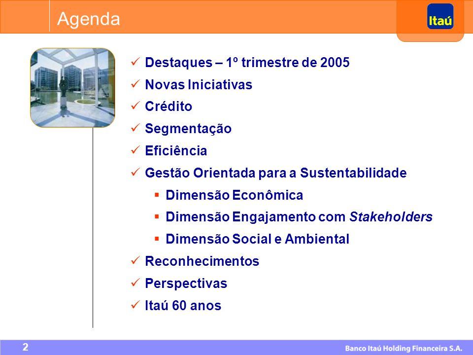 2 Agenda Destaques – 1º trimestre de 2005 Novas Iniciativas Crédito Segmentação Eficiência Gestão Orientada para a Sustentabilidade Dimensão Econômica Dimensão Engajamento com Stakeholders Dimensão Social e Ambiental Reconhecimentos Perspectivas Itaú 60 anos