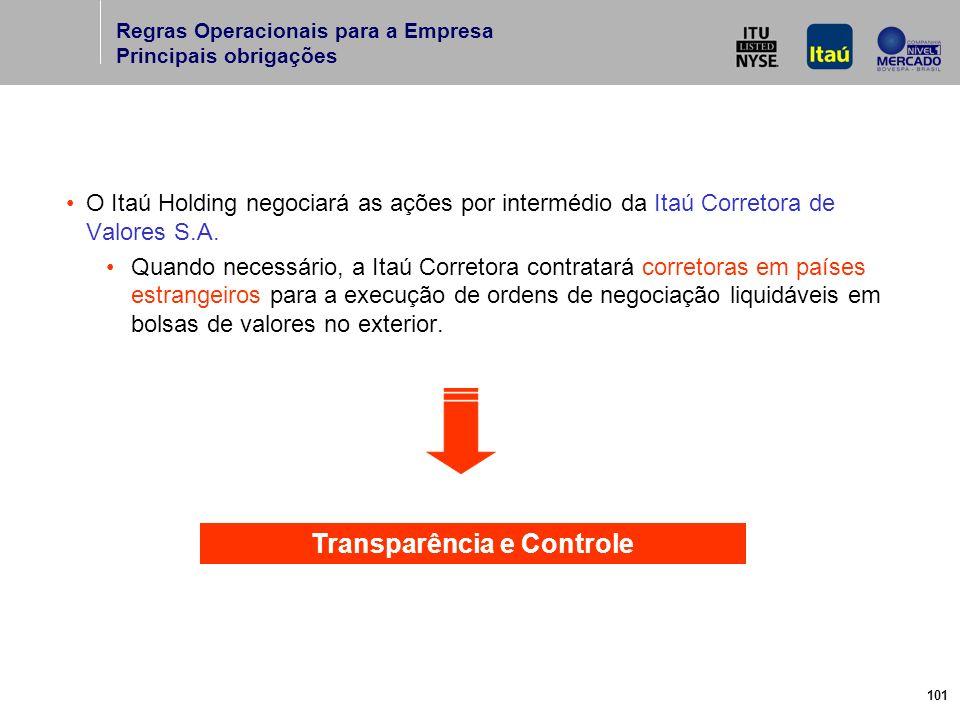 101 O Itaú Holding negociará as ações por intermédio da Itaú Corretora de Valores S.A.