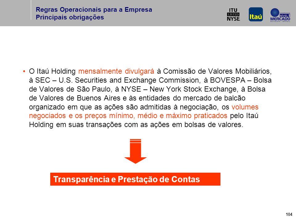 104 O Itaú Holding mensalmente divulgará à Comissão de Valores Mobiliários, à SEC – U.S.