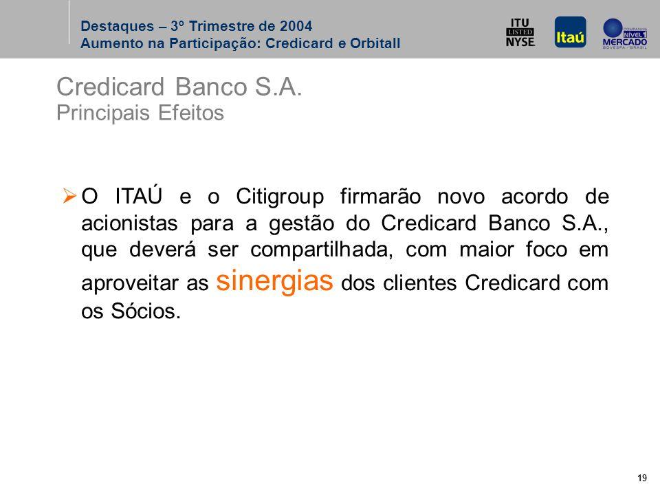 19 O ITAÚ e o Citigroup firmarão novo acordo de acionistas para a gestão do Credicard Banco S.A., que deverá ser compartilhada, com maior foco em aproveitar as sinergias dos clientes Credicard com os Sócios.