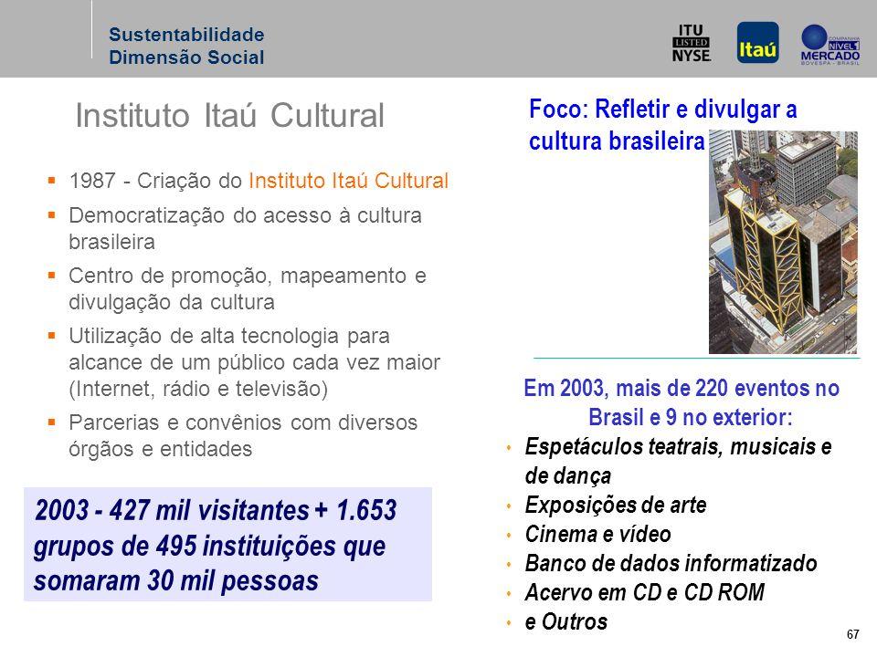 67 Instituto Itaú Cultural Sustentabilidade Dimensão Social 2003 - 427 mil visitantes + 1.653 grupos de 495 instituições que somaram 30 mil pessoas Em 2003, mais de 220 eventos no Brasil e 9 no exterior: Espetáculos teatrais, musicais e de dança Exposições de arte Cinema e vídeo Banco de dados informatizado Acervo em CD e CD ROM e Outros 1987 - Criação do Instituto Itaú Cultural Democratização do acesso à cultura brasileira Centro de promoção, mapeamento e divulgação da cultura Utilização de alta tecnologia para alcance de um público cada vez maior (Internet, rádio e televisão) Parcerias e convênios com diversos órgãos e entidades Foco: Refletir e divulgar a cultura brasileira