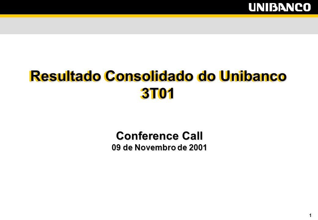 1 Resultado Consolidado do Unibanco 3T01 Conference Call 09 de Novembro de 2001 Resultado Consolidado do Unibanco 3T01