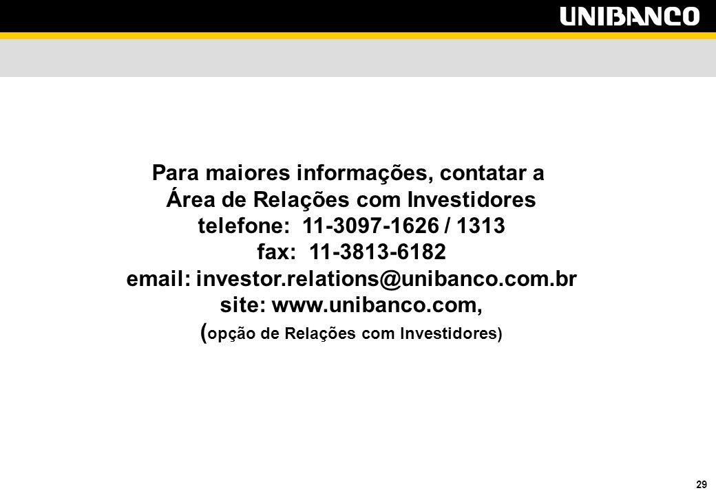 29 Para maiores informações, contatar a Área de Relações com Investidores telefone: 11-3097-1626 / 1313 fax: 11-3813-6182 email: investor.relations@unibanco.com.br site: www.unibanco.com, ( opção de Relações com Investidores)
