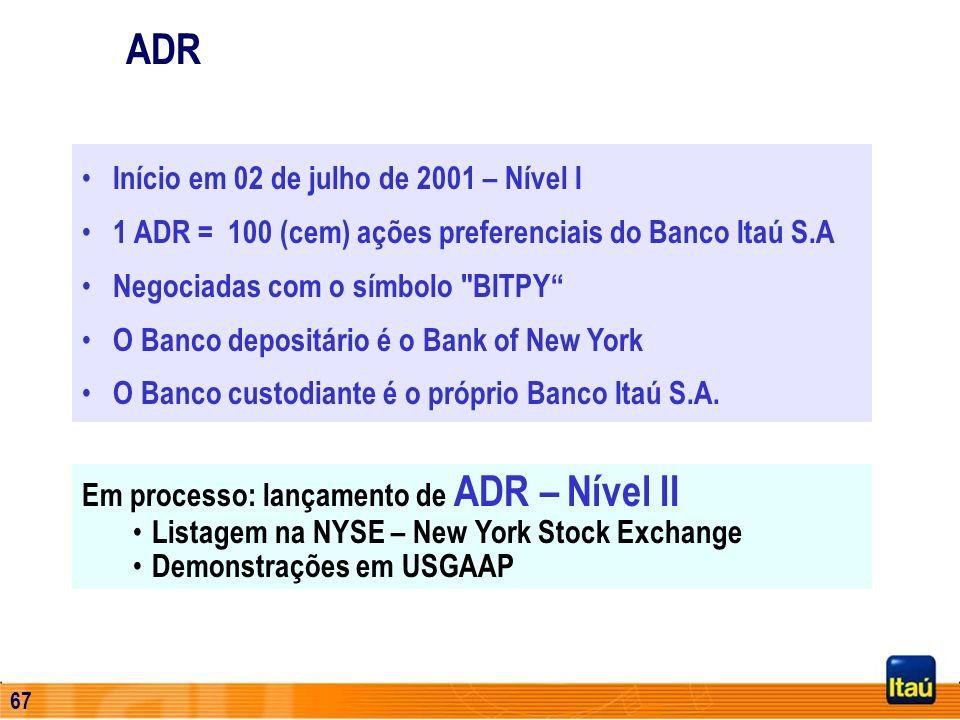 66 Primeiro passo para acessar o mercado internacional Aumento de liquidez das ações 36,5% das ações preferenciais são de acionistas estrangeiros Maio