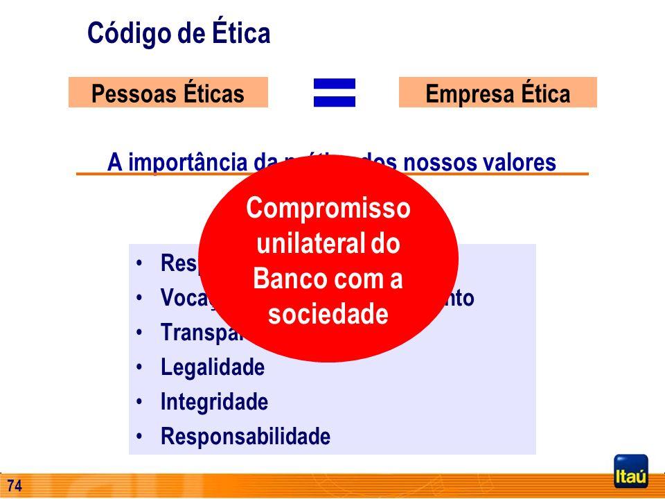 73 Código de Ética Empresa ÉticaPessoas Éticas = Respeito ao ser humano Vocação para o desenvolvimento Transparência Legalidade Integridade Responsabi