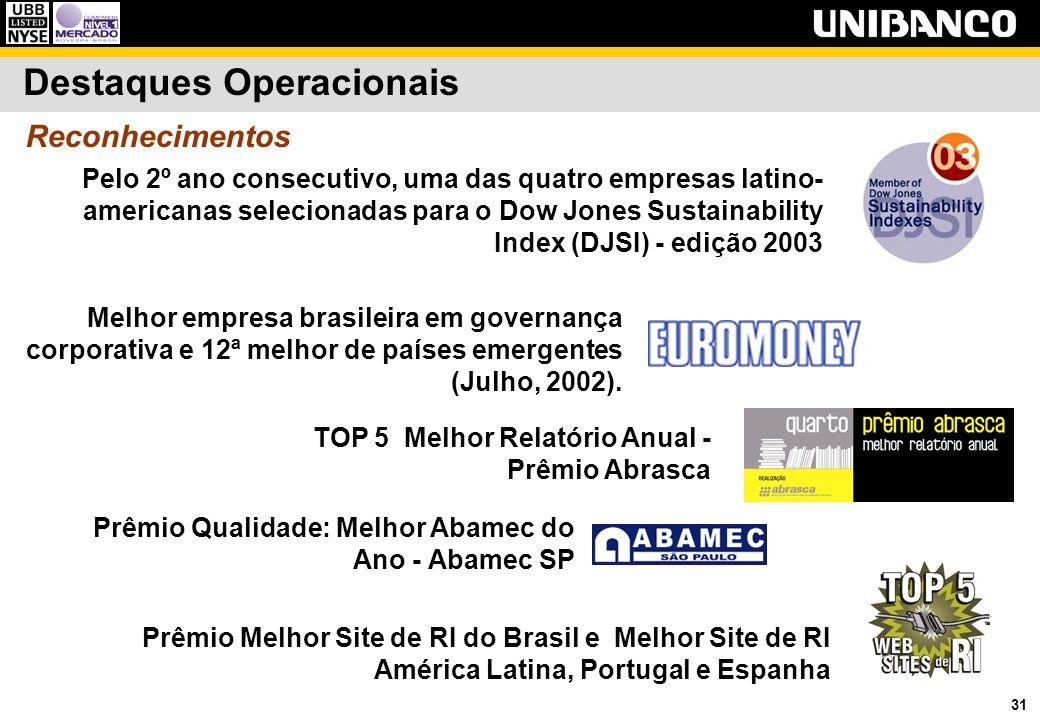 31 Reconhecimentos Melhor empresa brasileira em governança corporativa e 12ª melhor de países emergentes (Julho, 2002). Pelo 2º ano consecutivo, uma d