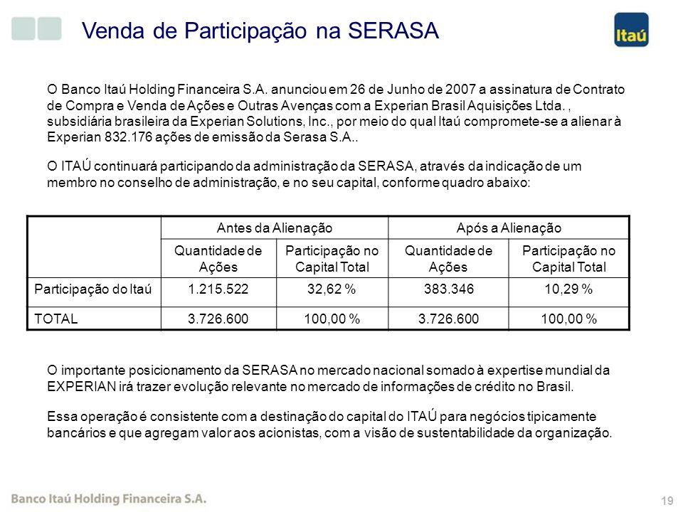 18 % Auto Atendimento x Total Transações (*) (*) Considera transações efetuadas através de canal eletrônico; (**) 30 de junho de 2007 (**)