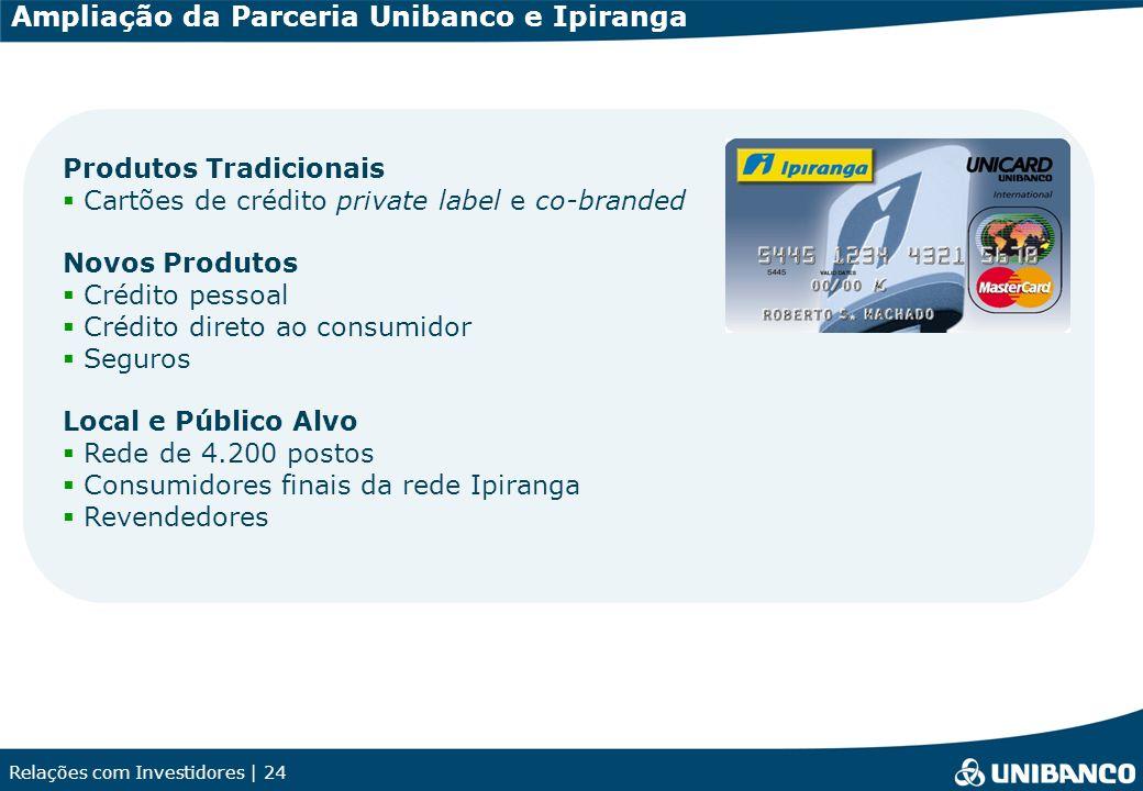 Relações com Investidores | 24 Ampliação da Parceria Unibanco e Ipiranga Produtos Tradicionais Cartões de crédito private label e co-branded Novos Pro