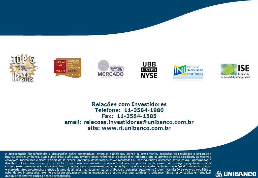 Relações com Investidores | 31 A apresentação faz referências e declarações sobre expectativas, sinergias planejadas, planos de crescimento, projeções de resultados e estratégias futuras sobre o Unibanco, suas subsidiárias e afiliadas.