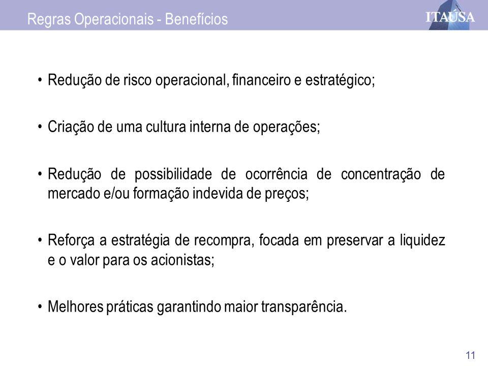 11 Redução de risco operacional, financeiro e estratégico; Criação de uma cultura interna de operações; Redução de possibilidade de ocorrência de conc