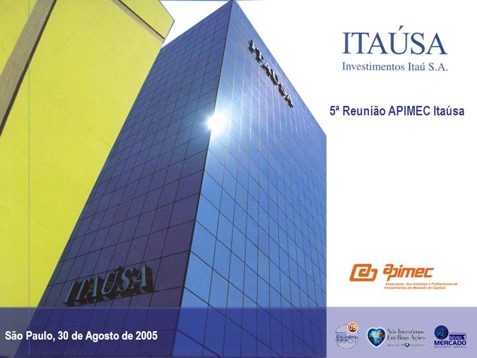 29 5ª Reunião APIMEC Itaúsa São Paulo, 30 de Agosto de 2005