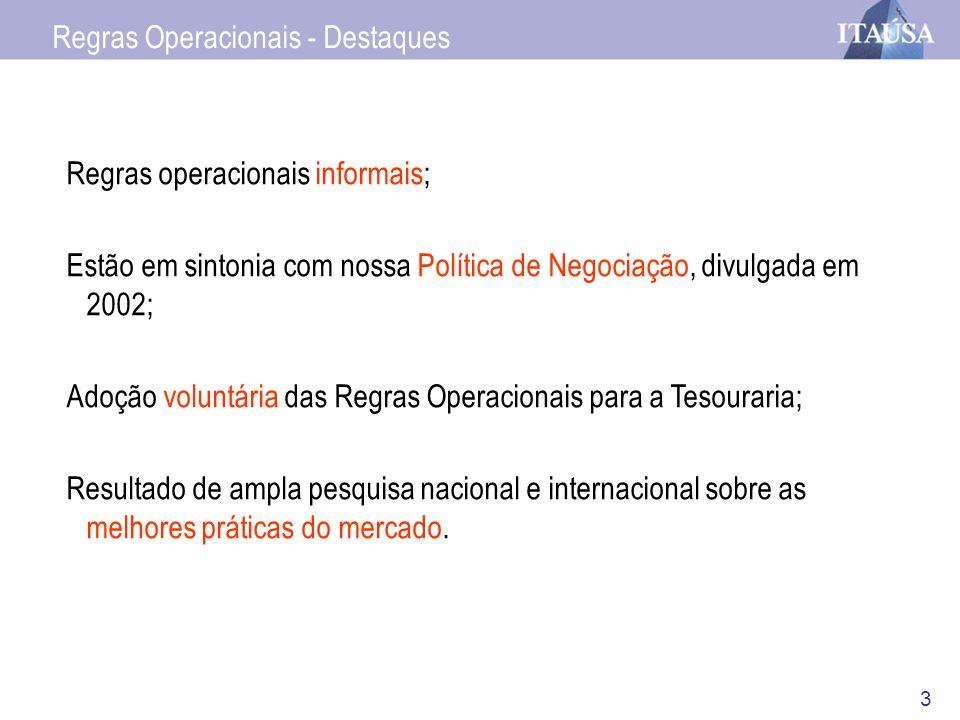 3 Regras Operacionais - Destaques Regras operacionais informais; Estão em sintonia com nossa Política de Negociação, divulgada em 2002; Adoção voluntá