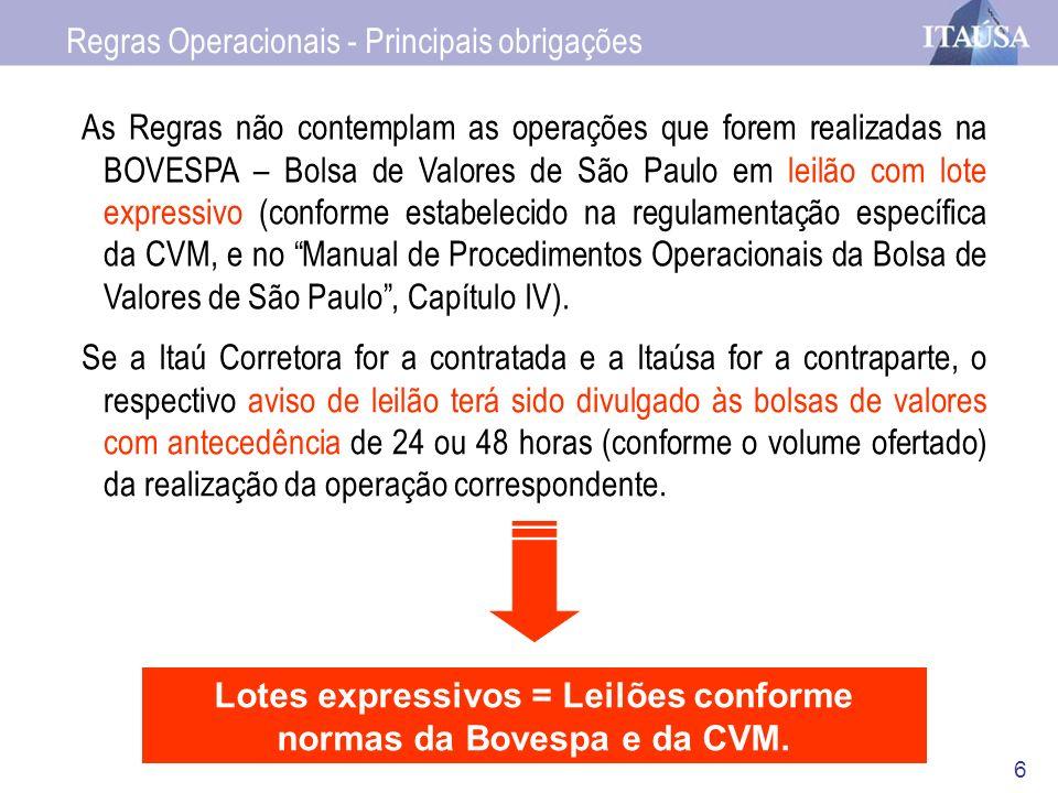 7 A Itaúsa não negociará as ações (i) nem nos primeiros 30 (trinta) minutos (ii) nem nos 10 (dez) minutos finais do pregão da BOVESPA – Bolsa de Valores de São Paulo.