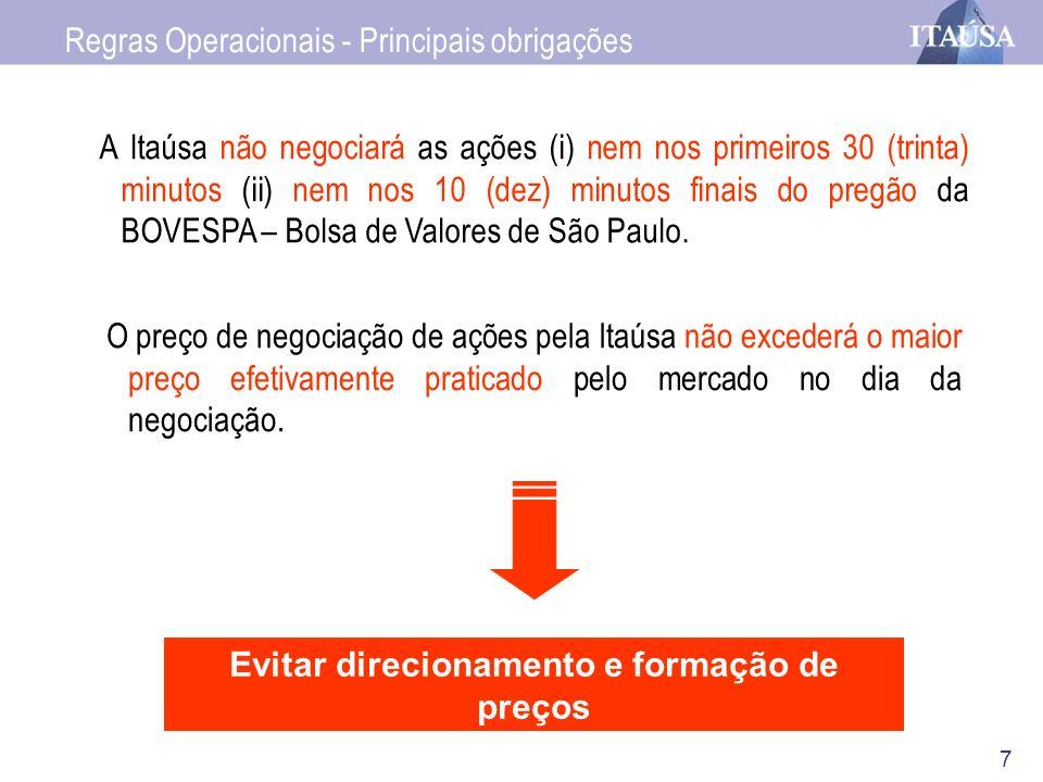 7 A Itaúsa não negociará as ações (i) nem nos primeiros 30 (trinta) minutos (ii) nem nos 10 (dez) minutos finais do pregão da BOVESPA – Bolsa de Valor