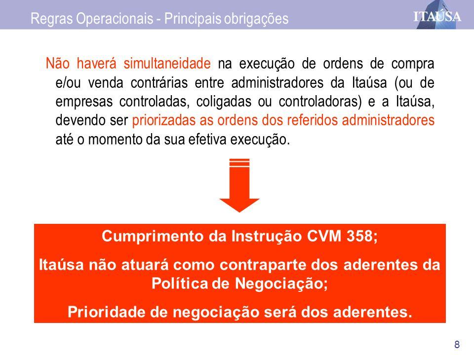 8 Não haverá simultaneidade na execução de ordens de compra e/ou venda contrárias entre administradores da Itaúsa (ou de empresas controladas, coligad