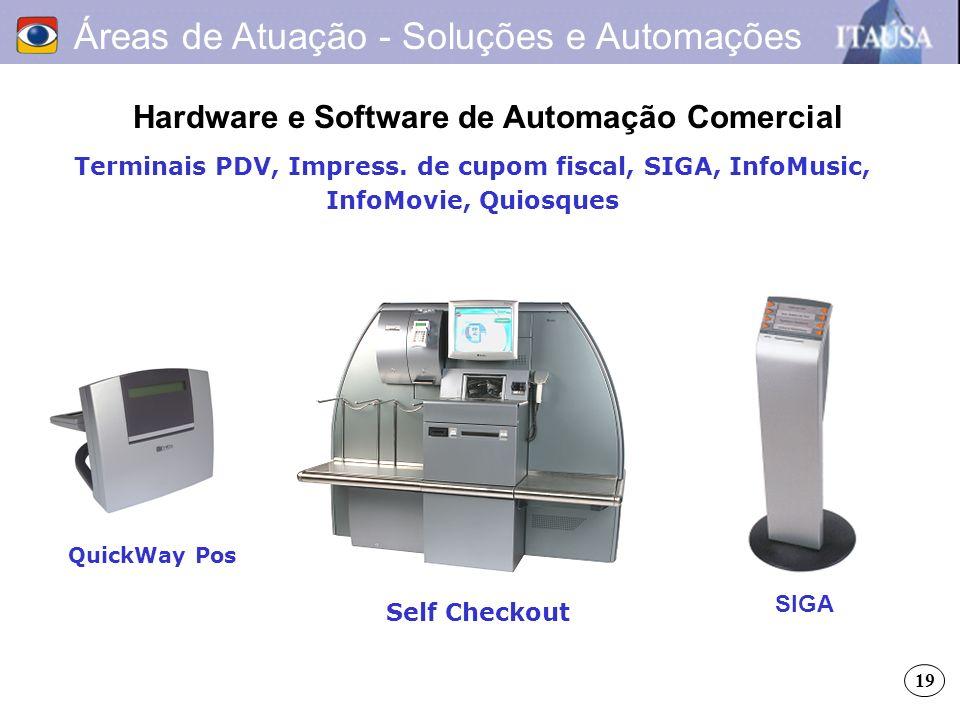 Áreas de Atuação - Soluções e Automações Hardware e Software de Automação Comercial Terminais PDV, Impress. de cupom fiscal, SIGA, InfoMusic, InfoMovi