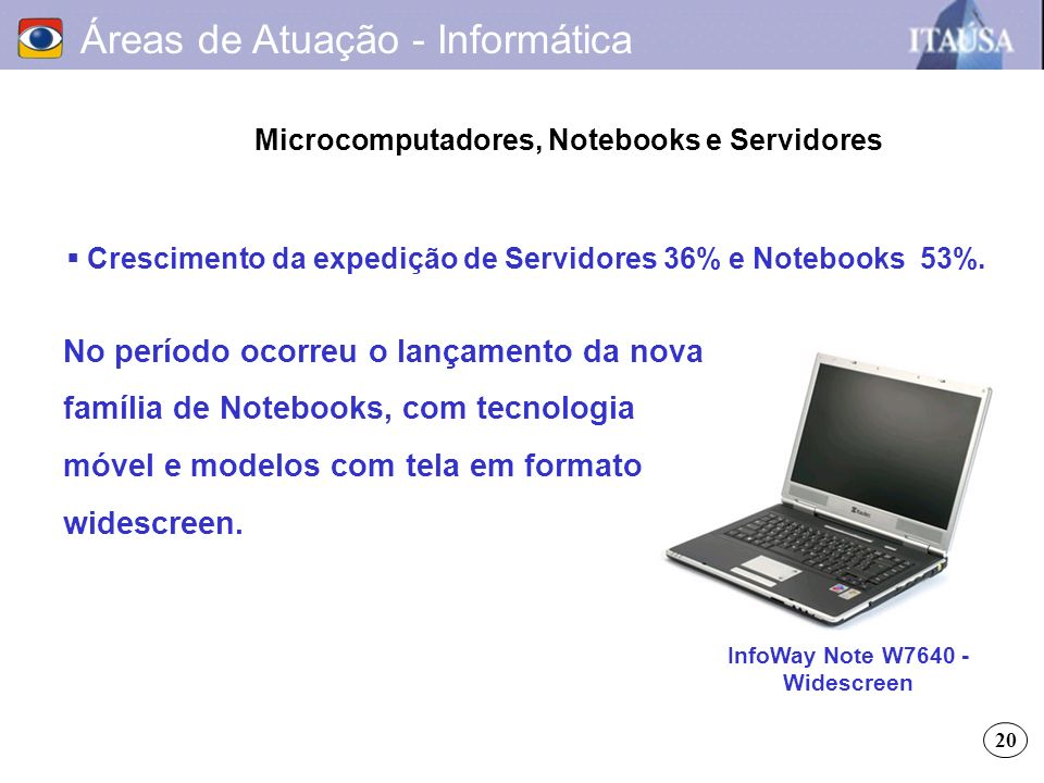Áreas de Atuação - Informática Microcomputadores, Notebooks e Servidores Crescimento da expedição de Servidores 36% e Notebooks 53%. No período ocorre