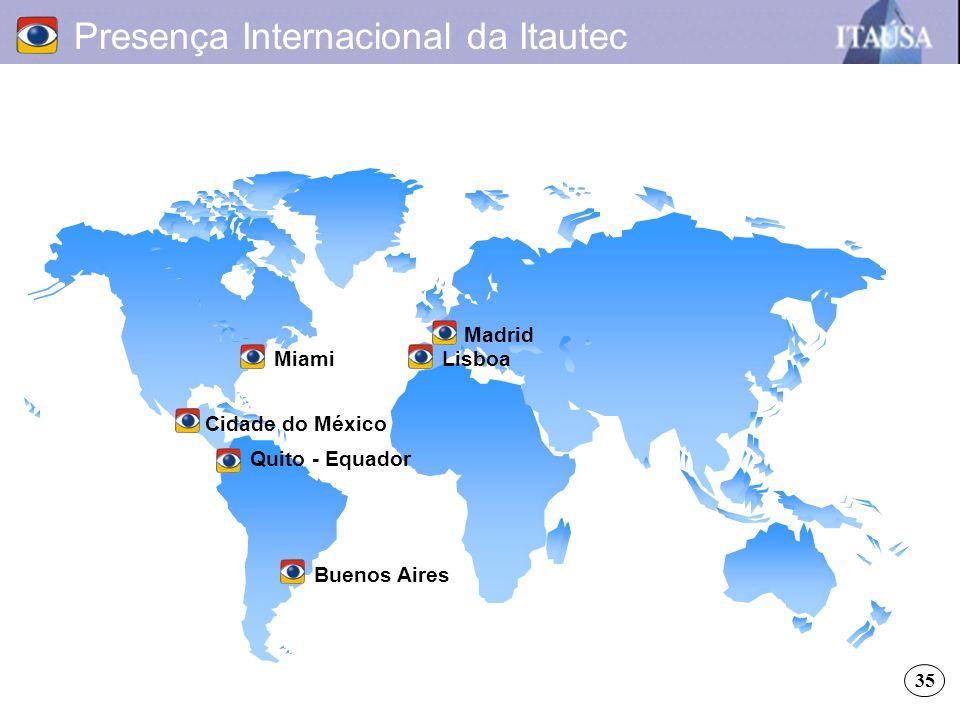 Presença Internacional da Itautec MiamiLisboa Madrid Buenos Aires Cidade do México Quito - Equador 35