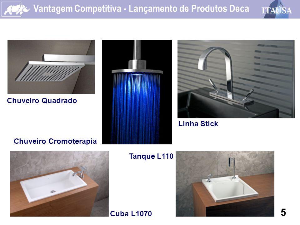 Vantagem Competitiva - Lançamento de Produtos Deca 5 Chuveiro Quadrado Chuveiro Cromoterapia Linha Stick Cuba L1070 Tanque L110