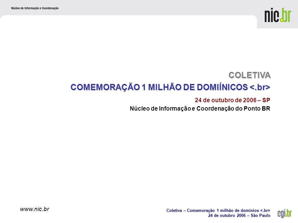 Coletiva – Comemoração 1 milhão de domínios Coletiva – Comemoração 1 milhão de domínios 24 de outubro 2006 – São Paulo www.nic.br Agenda Sobre o CGI.brSobre o CGI.br Sobre o NIC.brSobre o NIC.br NovidadesNovidades –Crescimento do registro de domínios –Crescimento do registro de domínios –Nova periodicidade na publicação do DNS –Parceria com o Observatório Nacional –Acordo com o LACNIC –Nova versão da Cartilha de Segurança PerguntasPerguntas