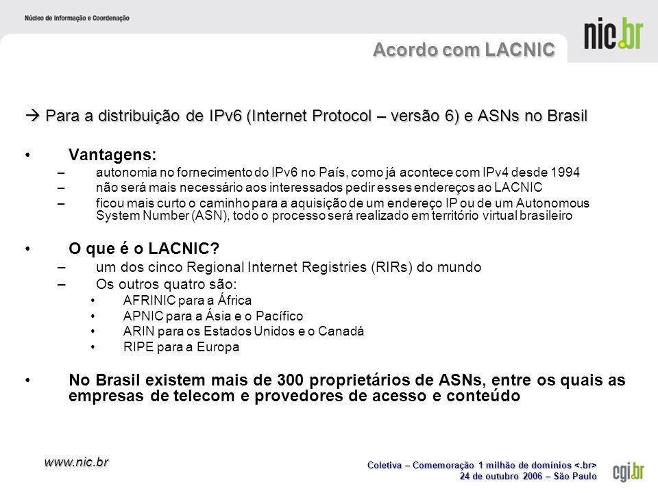 Coletiva – Comemoração 1 milhão de domínios Coletiva – Comemoração 1 milhão de domínios 24 de outubro 2006 – São Paulo www.nic.br Para a distribuição de IPv6 (Internet Protocol – versão 6) e ASNs no Brasil Para a distribuição de IPv6 (Internet Protocol – versão 6) e ASNs no Brasil Vantagens: –autonomia no fornecimento do IPv6 no País, como já acontece com IPv4 desde 1994 –não será mais necessário aos interessados pedir esses endereços ao LACNIC –ficou mais curto o caminho para a aquisição de um endereço IP ou de um Autonomous System Number (ASN), todo o processo será realizado em território virtual brasileiro O que é o LACNIC.