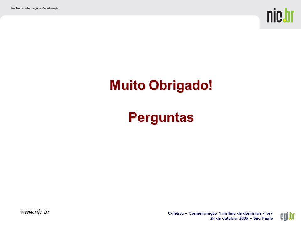 Coletiva – Comemoração 1 milhão de domínios Coletiva – Comemoração 1 milhão de domínios 24 de outubro 2006 – São Paulo www.nic.br Muito Obrigado.