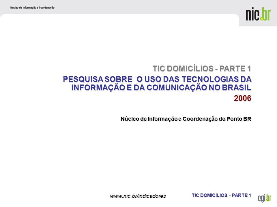 TIC DOMICÍLIOS - PARTE 1 www.nic.br/indicadores Núcleo de Informação e Coordenação do Ponto BR TIC DOMICÍLIOS - PARTE 1 PESQUISA SOBRE O USO DAS TECNO